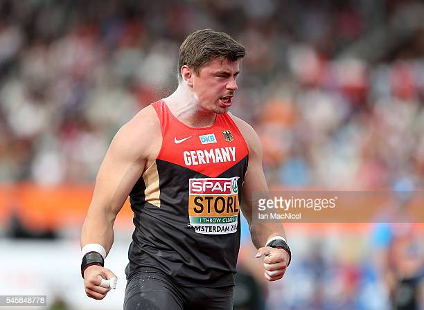 David Storl of Germany reacts during the final of the mens shot put on day five of The 23rd European Athletics Championships at Olympic Stadium on...