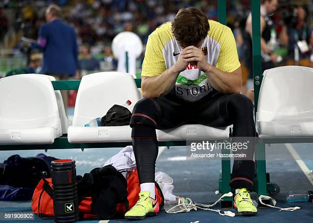 David Storl of Germany reacts during the Men's Shot Put Final on Day 13 of the Rio 2016 Olympic Games at the Olympic Stadium on August 18 2016 in Rio...