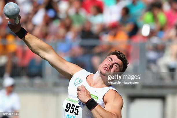 David Storl of SC DHfK Leipzig competes in the shot put finale during day 3 of the German Championships in Athletics at Grundig Stadium on July 26...