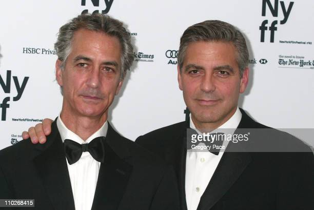 David Strathairn and George Clooney director during Opening Night of the 43rd Annual New York Film Festival 'Good Night and Good Luck' Premiere Green...