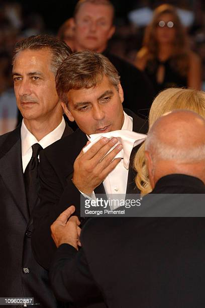 David Strathairn and George Clooney during 2005 Venice Film Festival 'Good Night and Good Luck' Premiere at Palazzo del Cinema in Venice Lido Italy