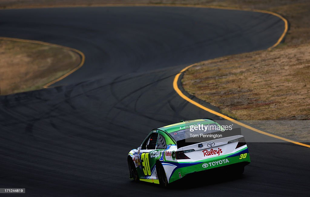 David Stremme, driver of the #30 Lean 1 / Swan Energy Toyota, drives during the NASCAR Sprint Cup Series Toyota/Save Mart 350 at Sonoma Raceway on June 23, 2013 in Sonoma, California.