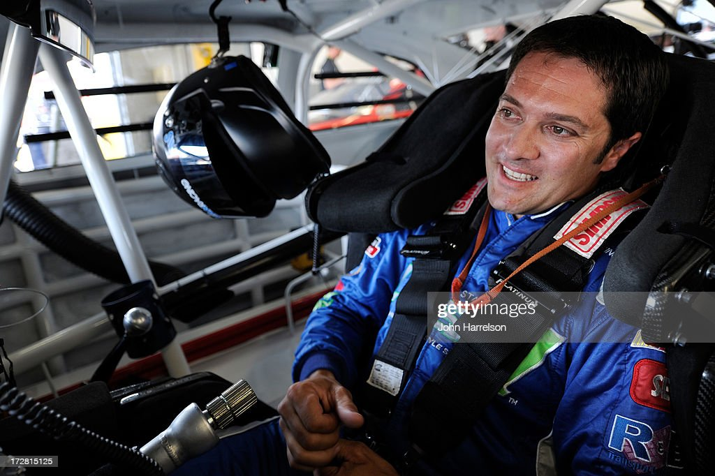 David Stremme, driver of the #30 Lean 1 Toyota, prepares to drive during practice for the NASCAR Sprint Cup Series Coke Zero 400 at Daytona International Speedway on July 4, 2013 in Daytona Beach, Florida.