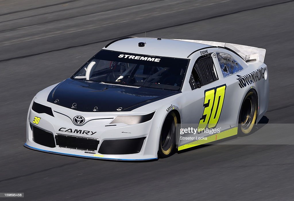 David Stremme, driver of the #30 Swan Racing, in action during NASCAR Testing at Charlotte Motor Speedway on January 18, 2013 in Charlotte, North Carolina.