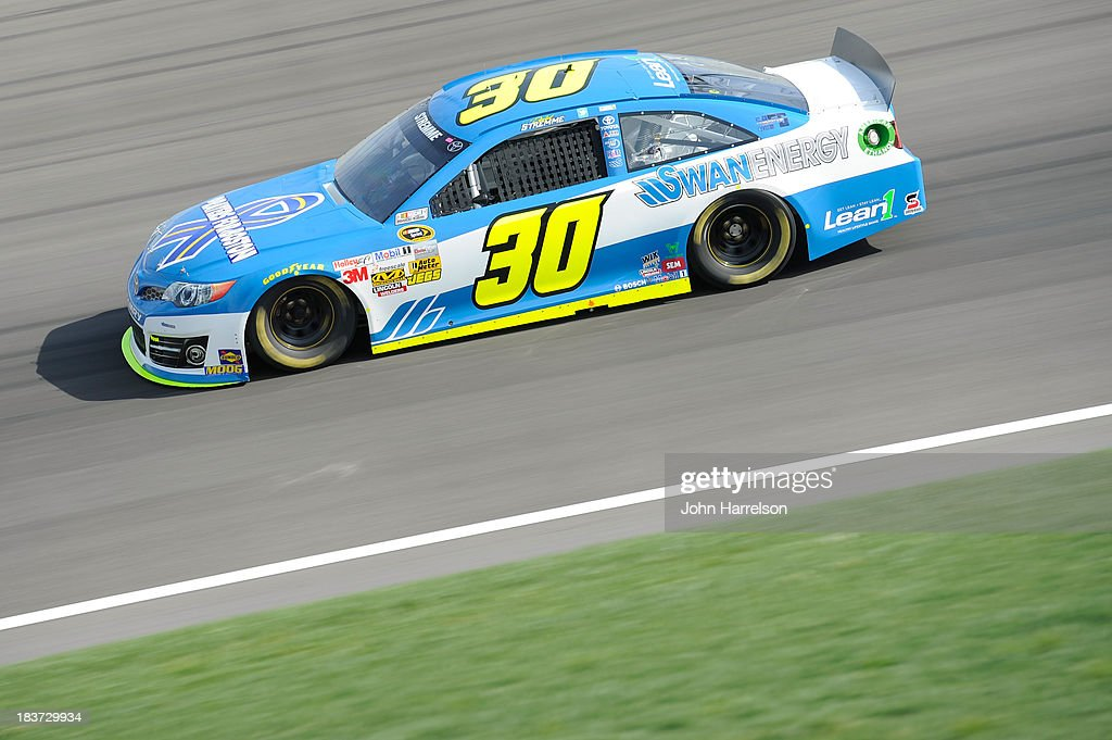 <a gi-track='captionPersonalityLinkClicked' href=/galleries/search?phrase=David+Stremme&family=editorial&specificpeople=241357 ng-click='$event.stopPropagation()'>David Stremme</a>, driver of the #30 Swan Racing Toyota, during practice for the NASCAR Sprint Cup Series STP 400 at Kansas Speedway on April 20, 2013 in Kansas City, Kansas.