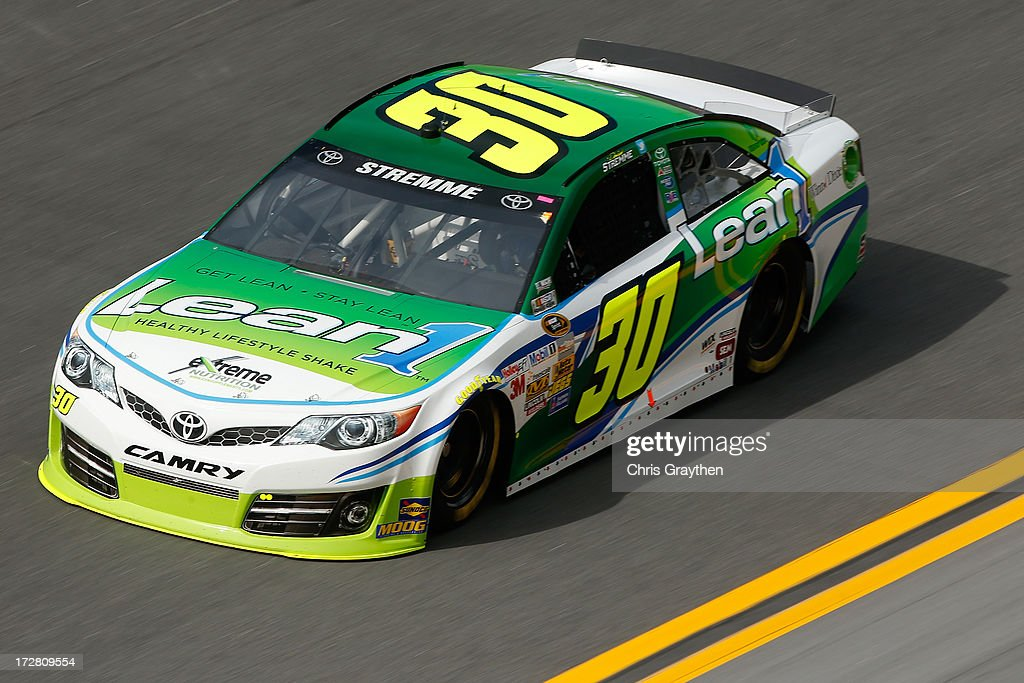 David Stremme drives the #30 Lean 1 Toyota during practice for the NASCAR Sprint Cup Series Coke Zero 400 at Daytona International Speedway on July 4, 2013 in Daytona Beach, Florida.