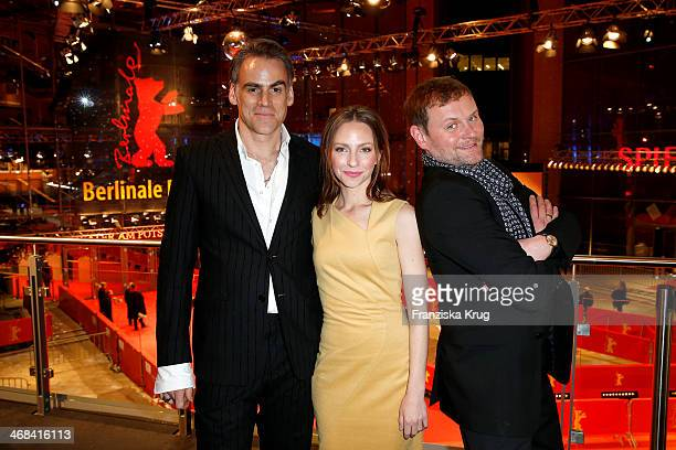David Striesow Sebastian Blomberg and Katharina Schuettler pose for a portrait at the Audi Lounge Day 5 Audi At The 64th Berlinale International Film...