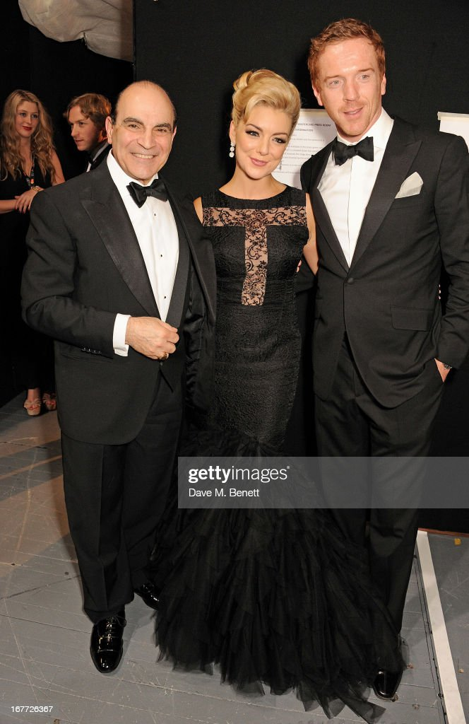 David Suchet, Sheridan Smith and Damian Lewis pose in the press room at The Laurence Olivier Awards 2013 at The Royal Opera House on April 28, 2013 in London, England.