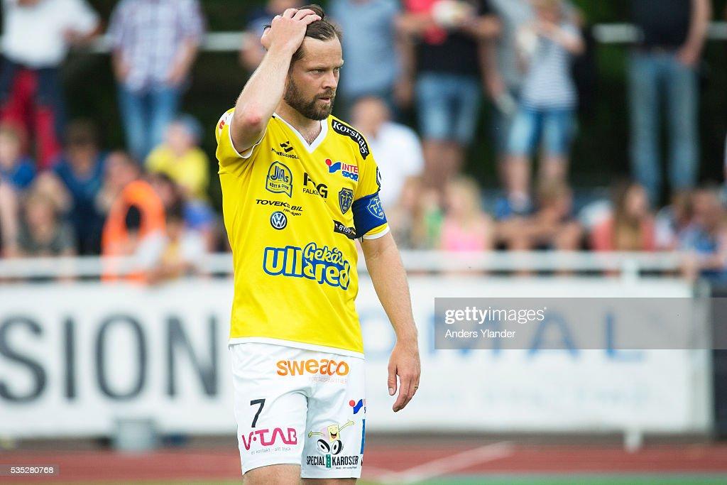 David Svensson of Falkenberg FF reacts during the Allsvenskan match between Falkenbergs FF andKalmar FF at Falkenbergs IP on May 29, 2016 in Falkenberg, Sweden.
