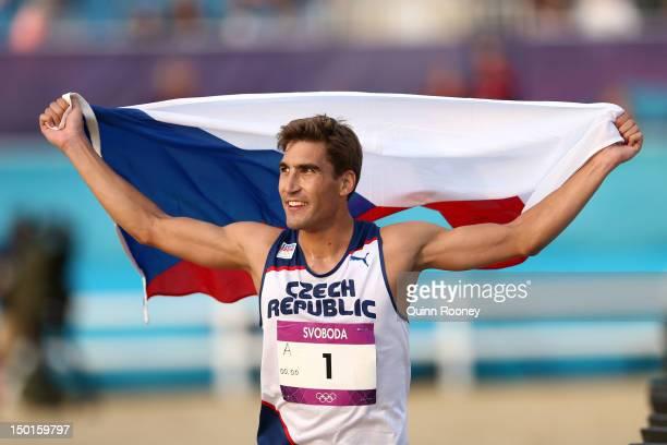 David Svoboda of Czech Republic celebrates winning the Men's Modern Pentathlon on Day 15 of the London 2012 Olympic Games on August 11 2012 in London...