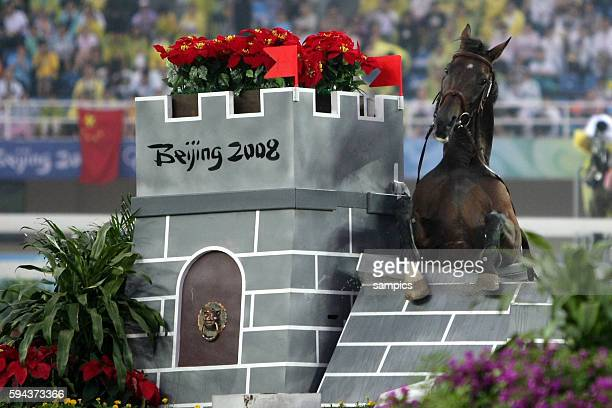 David Svoboda on Hunhun during the horse jumping part of the Modern Pentathlon during the Beijing 2008 Olympic Games in Beijing China