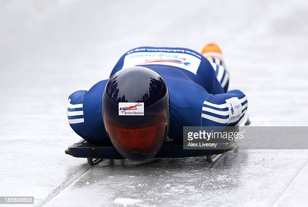 David Swift of the Team GB Skeleton Team in action during a training session on October 15 2013 in Lillehammer Norway