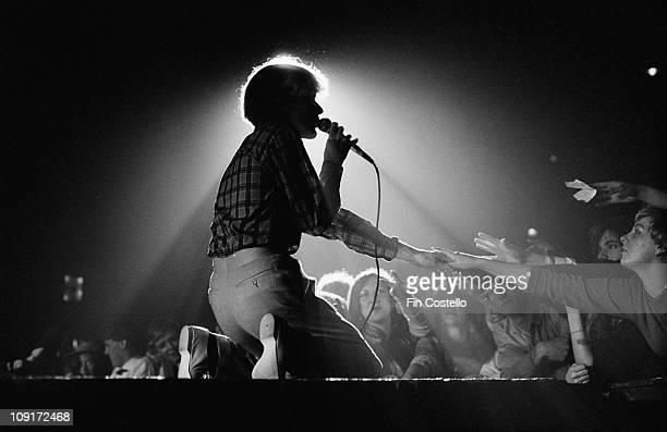 David Sylvian from Japan performs live on stage at Hammersmith Odeon in London in February 1981