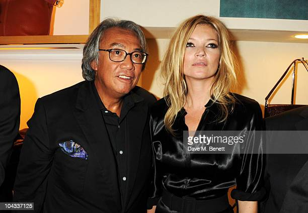 David Tang and Kate Moss attend the Kate Moss Longchamp LFW party at Lonchamp on September 21 2010 in London England