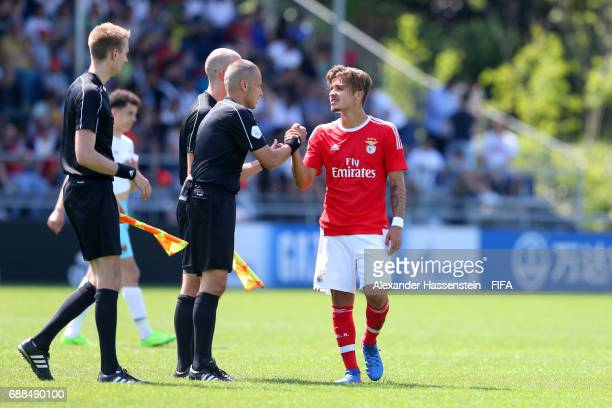 David Tavares of Benfica reacts with the referees on day two of the Blue Stars/FIFA Youth Cup 2017 at the Buchlern sports complex on May 25 2017 in...
