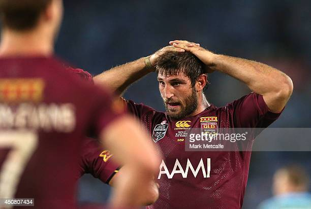 David Taylor of the Maroons looks dejected after defeat in game two of the State of Origin series between the New South Wales Blues and the...