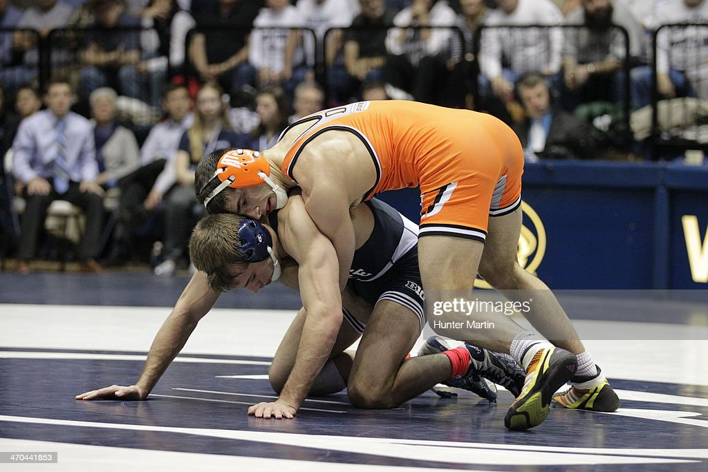 David Taylor of the Penn State Nittany Lions during a 165 pound match against Tyler Caldwell of the Oklahoma State Cowboys on February 16, 2014 at Rec Hall on the campus of Penn State University in State College, Pennsylvania. Penn State won 23-12.