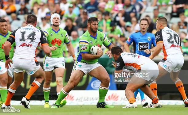 David Taylor of the Raiders in action during the round three NRL match between the Canberra Raiders and the Wests Tigers at GIO Stadium on March 19...