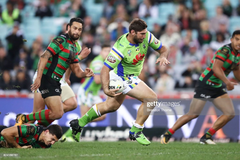 David Taylor of the Raiders runs the ball during the round 21 NRL match between the South Sydney Rabbitohs and the Canberra Raiders at ANZ Stadium on July 29, 2017 in Sydney, Australia.