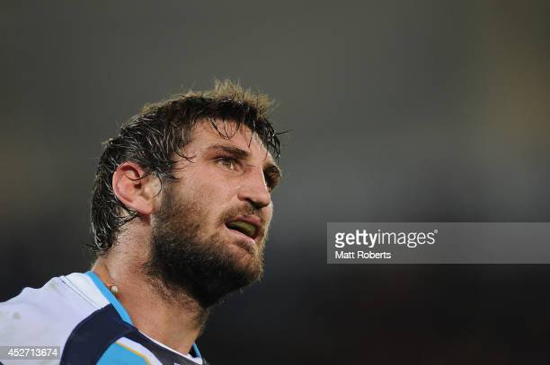 David Taylor of the Titans looks on during the round 20 NRL match between the Gold Coast Titans and the Parramatta Eels at Cbus Super Stadium on July...