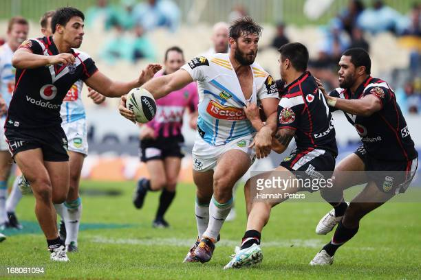 David Taylor of the Titans looks to offload the ball during the round eight NRL match between the New Zealand Warriors and the Gold Coast Titans at...