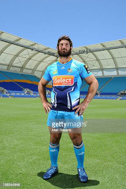 David Taylor poses during a Gold Coast Titans NRL jersey launch at Skilled Park on December 14 2012 on the Gold Coast Australia