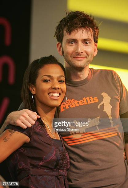 David Tennant and Freema Agyeman pose at a photocall at the launch of the Doctor Who The Complete Series Three' DVD Box Set at HMV London England on...