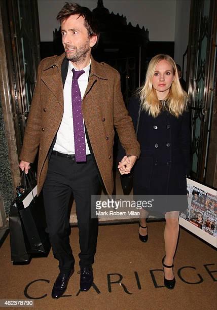 David Tennant and Georgia Moffett leaving Claridges hotel on January 27 2015 in London England
