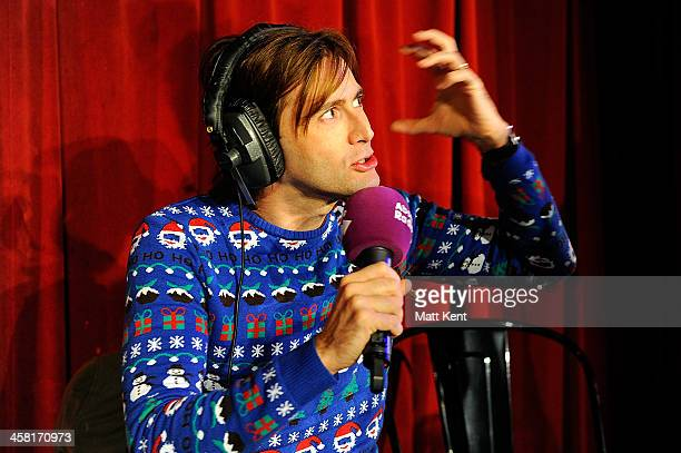 David Tennant appears on Absolute Radio's Christian O'Connell Breakfast Show to star in their pantomime 'Zombie Claus' at The Soho Theatre on...