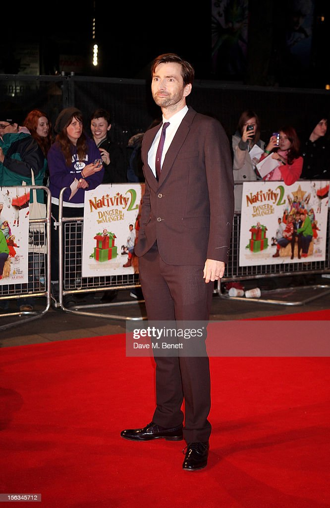 <a gi-track='captionPersonalityLinkClicked' href=/galleries/search?phrase=David+Tennant&family=editorial&specificpeople=220227 ng-click='$event.stopPropagation()'>David Tennant</a> attends the 'Nativity 2: Danger In The Manger' premiere at Empire Leicester Square on November 13, 2012 in London, England.