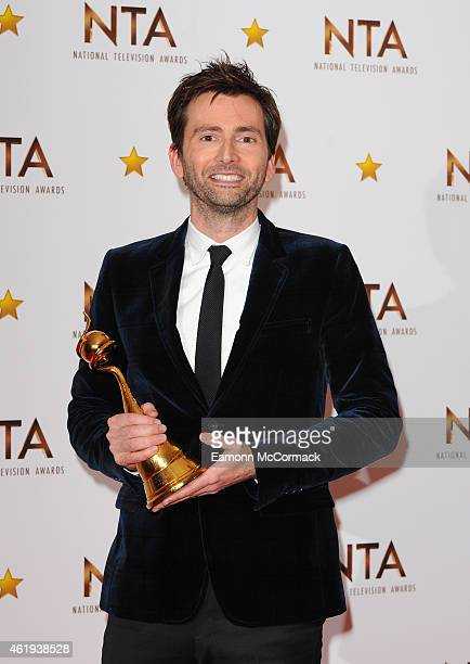 David Tennant poses in the winners room at the National Television Awards at 02 Arena on January 21 2015 in London England