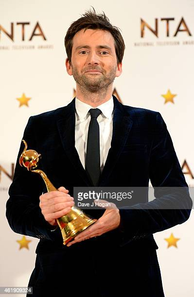 David Tennant winner of the Special Recognition award poses in the winners room at the National Television Awards at 02 Arena on January 21 2015 in...