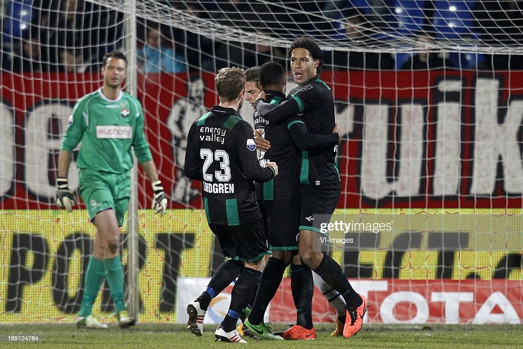 David Texeira of FC Groningen (R) during the Dutch Eredivisie match between Willem II and FC Groningen at the Koning Willem II Stadium on march 30, 2013 in Tilburg, The Netherlands