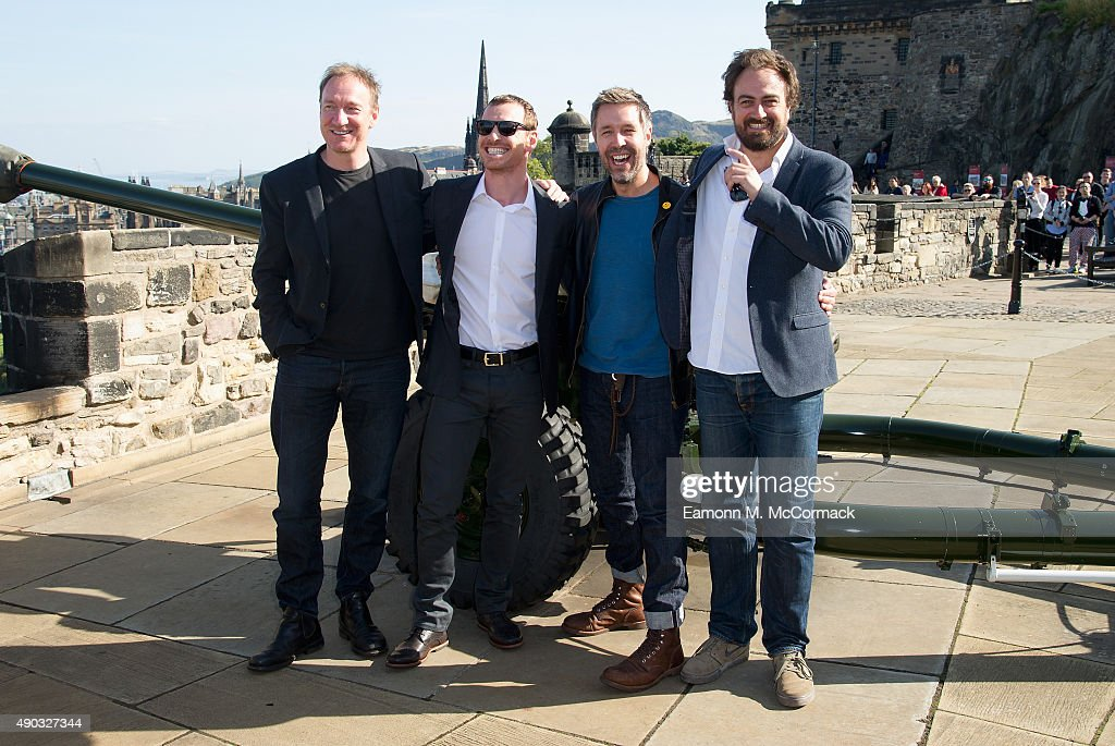 David Thewlis Michael Fassbender Paddy Considine and Director Justin Kurzel attend a photocall for 'Macbeth' at Edinburgh Castle on September 27 2015...