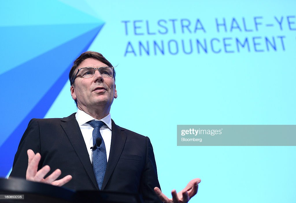 David Thodey, chief executive officer of Telstra Corp., speaks during a news conference at the company's headquarters in Melbourne, Australia, on Thursday, Feb. 7, 2013. Telstra Corp., Australia's largest phone company, posted first-half profit that matched analyst estimates as it added 607,000 new mobile customers. Photographer: Carla Gottgens/Bloomberg via Getty Images