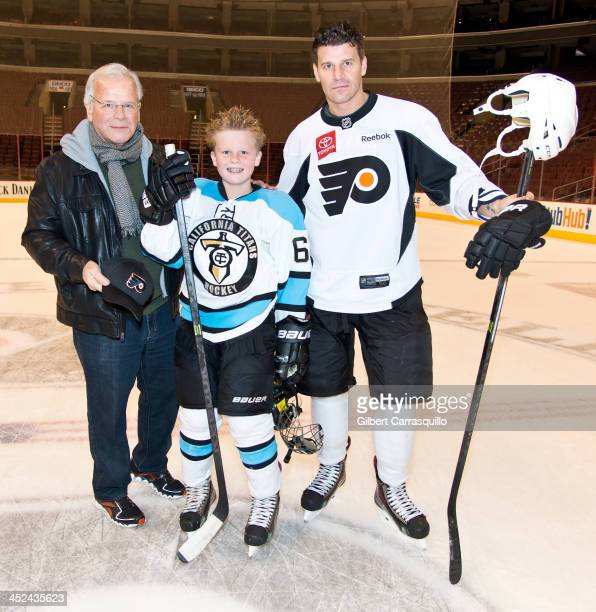 David Thomas Boreanaz actor David Boreanaz and son Jaden Boreanaz play a special hockey match with ComcastSpectacor Executives on Thanksgiving Day at...