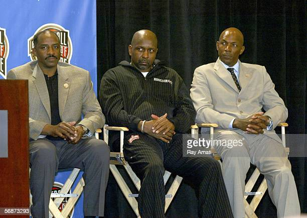 David Thompson Moses Malone and Clyde Drexler sit on stage during the Basketball Hall of Fame Inductees Press Conference on February 17 2006 at the...