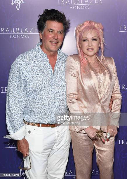 David Thornton and Cyndi Lauper attend the Logo's 2017 Trailblazer Honors event at Cathedral of St John the Divine on June 22 2017 in New York City