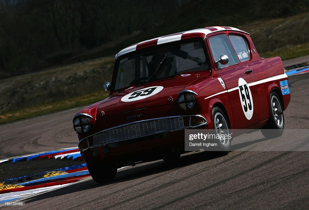 David Tomlin drives the #59 Ford Anglia 105E during the ByBox Historic Touring Car Championship race at the Historic Sports Car Club Thruxton Revival Meeting at the Thruxton Circuit on March 31, 2013 near Andover, United Kingdom.