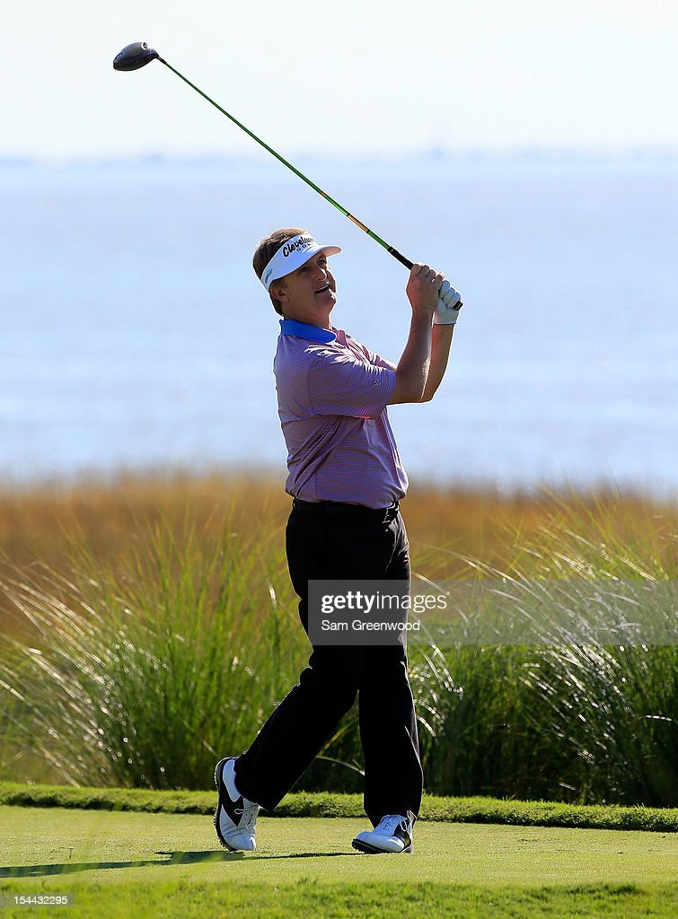 <a gi-track='captionPersonalityLinkClicked' href=/galleries/search?phrase=David+Toms&family=editorial&specificpeople=183354 ng-click='$event.stopPropagation()'>David Toms</a> hits a shot on the 14th hole during the second round of The McGladrey Classic at Sea Island's Seaside Course on October 19, 2012 in Sea Island, Georgia.