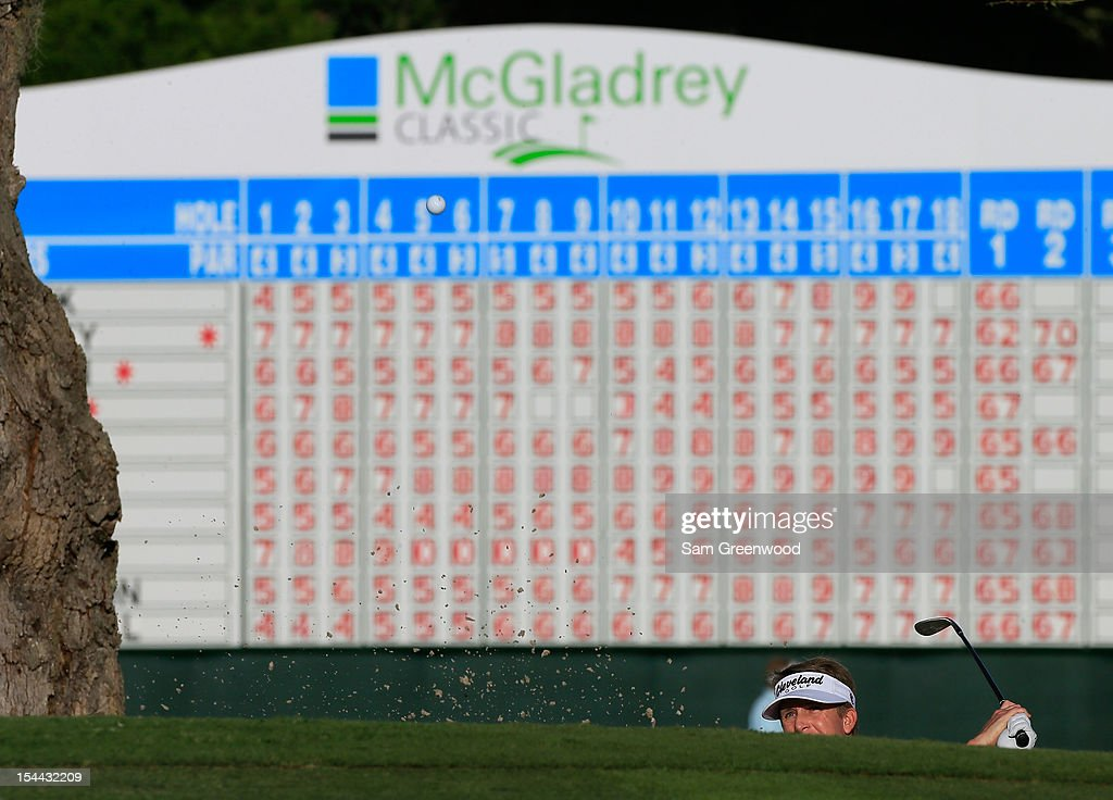 <a gi-track='captionPersonalityLinkClicked' href=/galleries/search?phrase=David+Toms&family=editorial&specificpeople=183354 ng-click='$event.stopPropagation()'>David Toms</a> hits a shot on the 18th hole during the second round of The McGladrey Classic at Sea Island's Seaside Course on October 19, 2012 in Sea Island, Georgia.