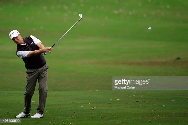 David Toms hits his second shot on the first hole during the final round of the Sanderson Farms Championship on November 9 2015 in Jackson Mississippi
