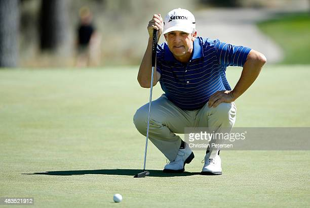 David Toms lines up a putt on the eighth hole during the final round of the Barracuda Championship at the Montreaux Golf and Country Club on August 9...