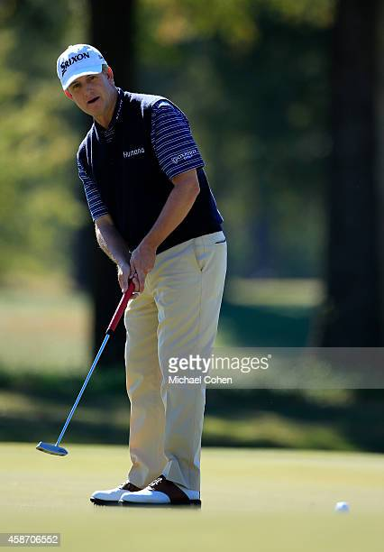 David Toms of the United States misses his birdie putt on the sixth hole during the Final Round of the Sanderson Farms Championship at The Country...