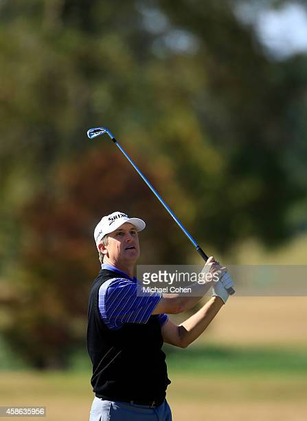 David Toms of the United States takes his second shot on the sixth hole during Round Three of the Sanderson Farms Championship at The Country Club of...