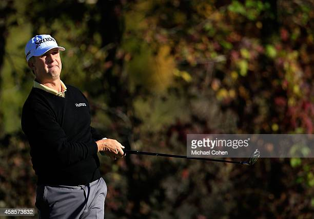David Toms of the United States tees off on the 15th hole during round two of the Sanderson Farms Championships at The Country Club of Jackson on...