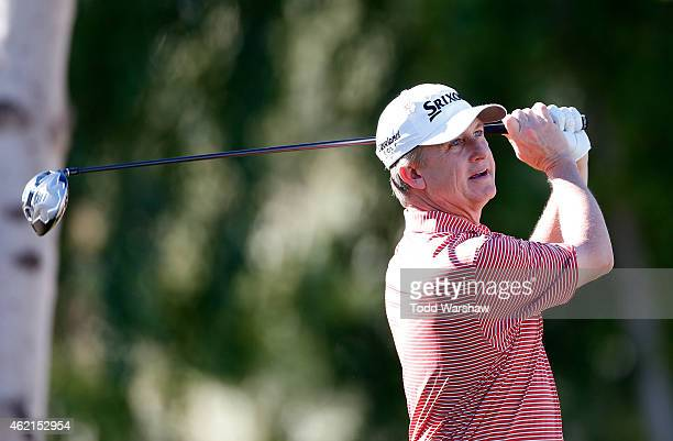 David Toms of the United States tees off on the second hole during the final round of the Humana Challenge in partnership with The Clinton Foundation...