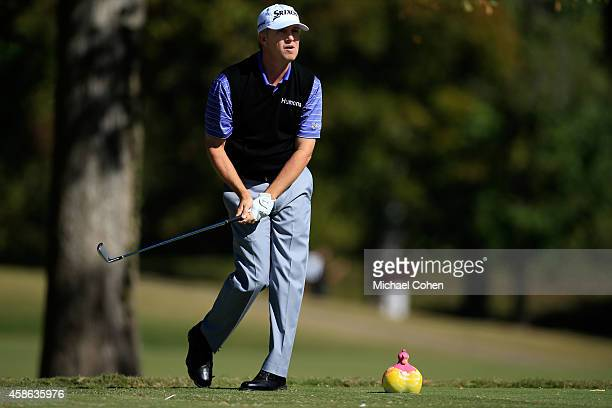David Toms of the United States tees off on the seventh hole during Round Three of the Sanderson Farms Championship at The Country Club of Jackson on...