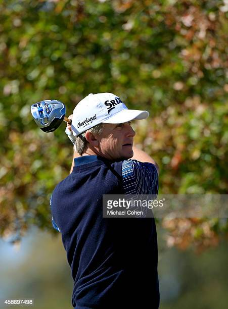 David Toms of the United States tees off on the third hole during the Final Round of the Sanderson Farms Championship at The Country Club of Jackson...