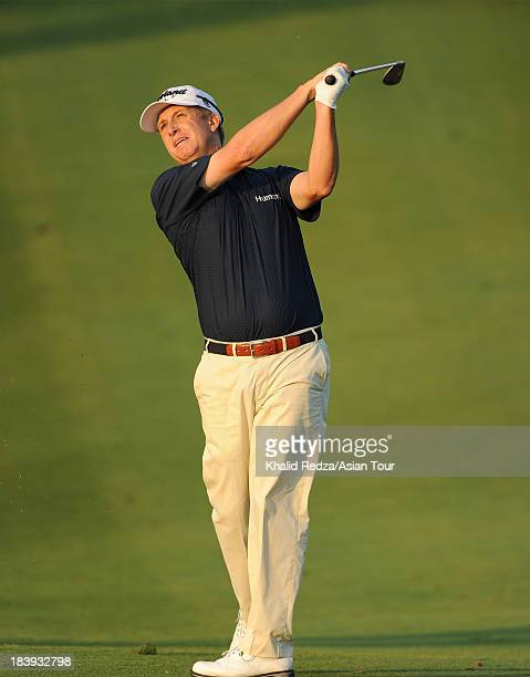 David Toms of USA plays a shot during round one of the CJ Invitational Hosted by KJ Choi at Haesley Nine Bridges Golf Club on October 10 2013 in...